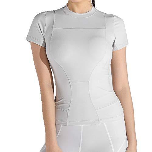 U/A - Camiseta deportiva ajustada para correr, fitness Gris gris S