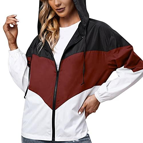 Chubasquero para mujer, impermeable, transpirable, para exteriores, con capucha, cortavientos, parka funcional, chaqueta para mujer, transpirable, impermeable, Vino, S
