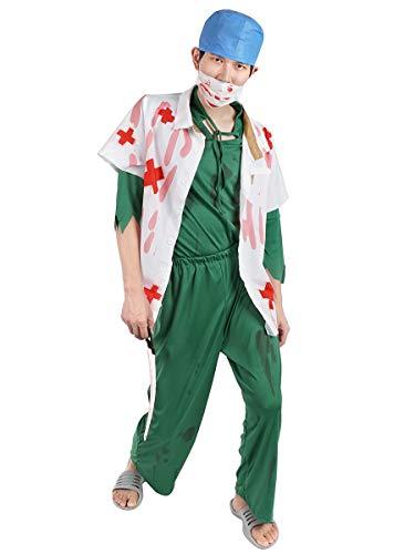 CoolChange Halloween Kostüm Zombie Chirurg | Horror Arzt | Blutiger Kittel, Kunstblut & Leichenhand | Größe: M