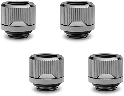 EKWB EK-Quantum Torque HDC-12 Compression Fitting for EKWB Rigid Tubing, 12mm OD, Black, 4-Pack