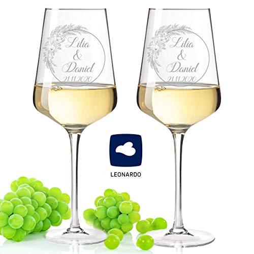 Leonardo - Copas de vino con grabado de nombre y fecha en diseño de hierba de Pampa, regalo para boda, compromiso y aniversario, un regalo de boda perfecto