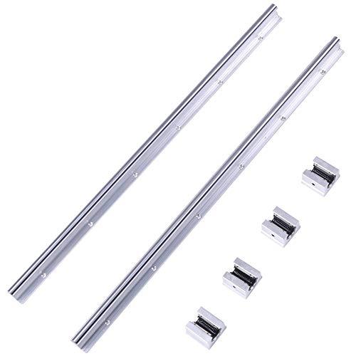 YELLAYBY Acero Inoxidable Plomo 2pcs SBR12-600mm 600 × 12 mm Metal lineares del Carril de patín Deslizante Eje guía + 4 Piezas en SBR12UU lineales Bloques deslizantes Lineal