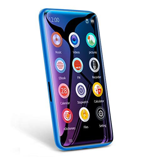 """TIMMKOO MP3 Player with Speaker, 4.0"""" Full Touchscreen HD Video Mp4 Player, 8GB Portable HiFi Lossless Sound Mp3 Music Player with FM Radio, Voice Recorder, E-Book, Supports up to 128GB TF Card Blue"""