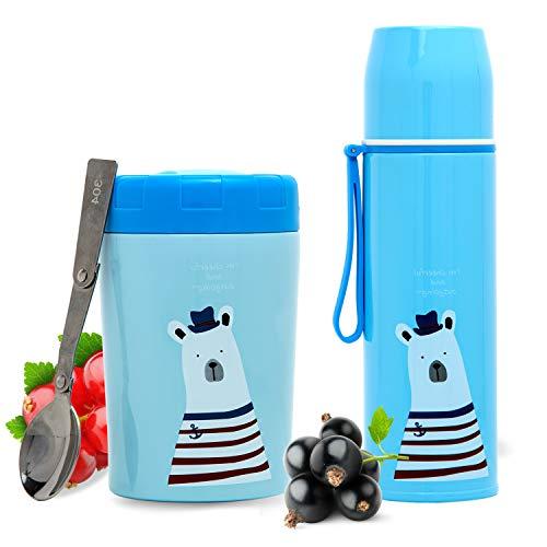 Balokki Kit Térmico 2-en-1 • Termo Papillero + Botella Térmica • Acero Inox Doble Capa • Termo de Comida y Líquidos para Niños de Viaje • Calientes/Frías • Color Azul