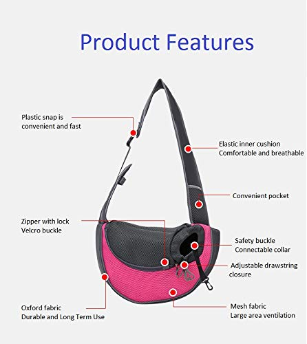 Lovefish Pet Dog Sling Carrier, Small Dog Outdoor Travel Bag Hands Free Front Pack Chest Carrier with Breathable Mesh Pouch for Puppy Cat Small Dog(Pink, 6lb) 4
