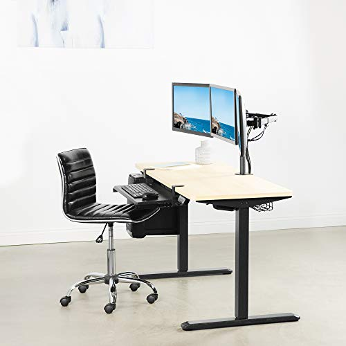 VIVO Black Triple Monitor Adjustable Desk Mount, Articulating Tri Stand Holds 3 Screens up to 24 inches (STAND-V003Y)