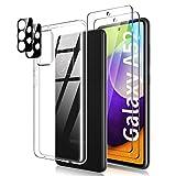 TOCOL Funda Compatible con Samsung Galaxy A52 4G/5G, 2 Piezas Protector de Pantalla 2 Piezas Lente de cámara Vidrio Templado HD Clara Carcasa Suave TPU Ultrafina Anticoque Case, Transparente