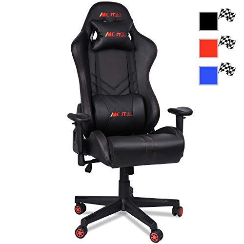 MC Star Gaming Racing PC Gamer Stuhl Ergonomisches Hoher Rückenlehne Computerstuhl Schreibtischstuhl Bürostuhl mit Carbonfaser-PU-Leder, 14cm Schwamm, 3D Einstellbar, Enthält Zwei Kissen (Schwarz)