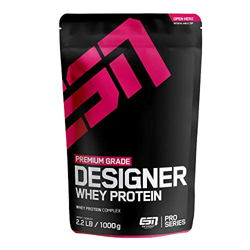 ESN Designer Whey Protein – 1000g – Strawberry – Eiweißpulver reich an essentiellen Aminosäuren (EAAs) – Sehr gut löslich – 33 Portionen – Made in Germany