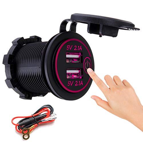 ZWwei Piezas de automóviles Toque Interruptor con Cable de alimentación 2.1A + 2.1A Teléfono móvil de Cargador Modificado con Motor USB Dual 12-24V Herramientas y Equipos de automóviles (Color : Red)