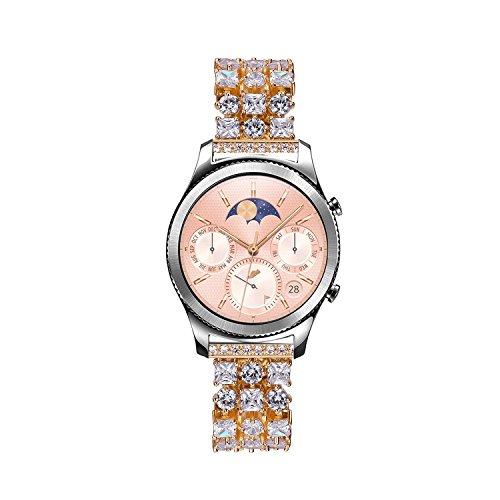 Solomo Gear S3 Frontier/Classic Horlogeband, 22mm luxe strass diamanten sieraden lus roestvrij staal metalen snelle vervanging riem met verstelbare gesp voor Samsung Gear S3 Frontier Classic, Goud