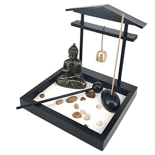Desk Meditation Decor Garden Buddha Statue Incense Stick Holder with Bell