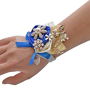 Silk Flower Arrangements CASEYDRESS Corsage and Boutonniere, Pink Silk Flowers Rhinestones Boutonniere Pins, Crystals Wrist Bracelet Corsage for Wedding Bridesmaid Prom Party 8 Colors