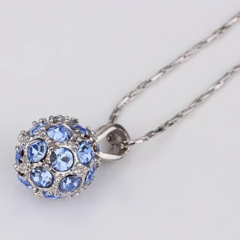KDesign Simple Bead Ball blueee CZ Diamond Rhodium gold Plated Print 18KRG Torques Lariats Pendant Necklaces GN130