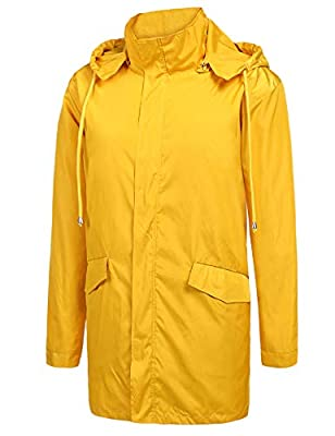 ZEGOLO Men's Raincoats Waterproof Windbreaker Lightweight Active Outdoor Full Zip Hooded Long Rain Jacket Trench Coats Yellow Large by ZEGOLO