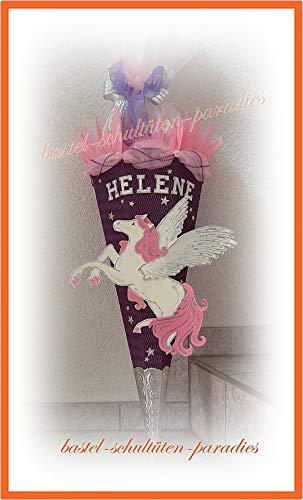 Schultüten Bastelset Pegasus/Einhorn mit Organza lila-rosa-weiß