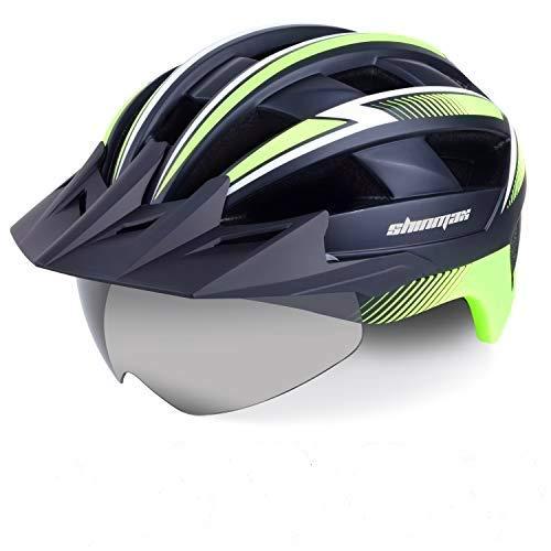 Kinglead Casco de bicicleta con luz de seguridad y visera protectora, certificado CE unisex casco de ciclismo para montar al aire libre deportes seguridad superligera ajustable adulto 023 verde