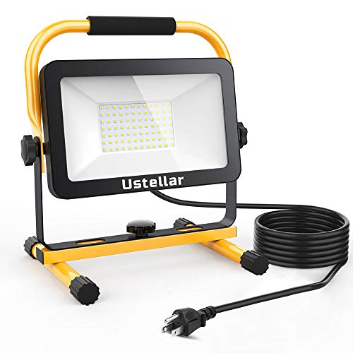 Ustellar 60W LED Work Light, 6000lm (450W Equivalent) IP65 Waterproof Portable Flood Lights with Stand, Outdoor Job Site Worklight for Workshop, Construction Site, 6000K Daylight White