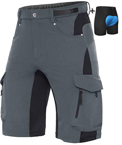 XKTTAC - Pantaloncini da uomo per mountain bike, mountain bike, MTB, da uomo, grigio + cuscino., S(Taille:28''-30''/71-76CM)