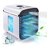 Hisome Aire Acondicionado Mini Enfriador Portátil 5 en 1 USB Air Cooler Purificador Humidificador Aromaterapia Luz Nocturna Ventilador Leakproof 7 Colores Luces 3 Velocidades, para Hogar y Oficina