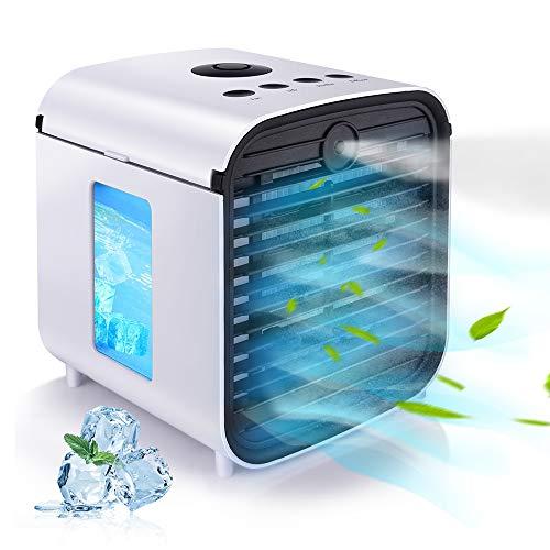 HISOME Mini Condizionatore Portatile Personale Air Cooler 5-in-1 Refrigeratore D'aria Umidificatore Purificatore Diffusore di Aromi Luce Notturna USB con 3 Velocità 7 Colori Luce per Casa Ufficio