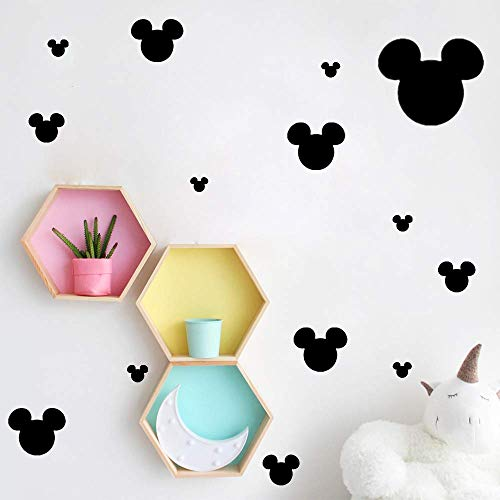 Ewdsqs Mickey Mouse Heads Vinyl Wall Decal Sticker for Nursery Kids Room 25 Pcs/Set
