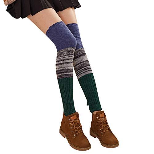 UJUNAOR Damen Patchwork Strümpfe Socken Winter Dicke Über die Kniestrümpfe Beinärmel Leggings(E,One Size)