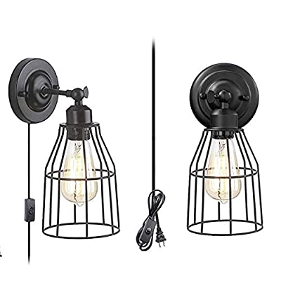 Wall Sconce 2 Pack, Pendant Light Industrial Wall Lamp with Plug-in Cord and On Off Toggle Switch, Vintage Style E26 Base Metal Wall Light Fixture Industrial Rustic Ceiling Lamp
