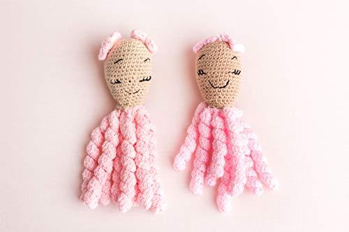 Sonora Baby. Pack de pulpos para bebés prematuros (Rosa), hechos artesanalmente; para recién nacidos. Ideales para bebés prematuros, o bebés que han de estar en incubadora.