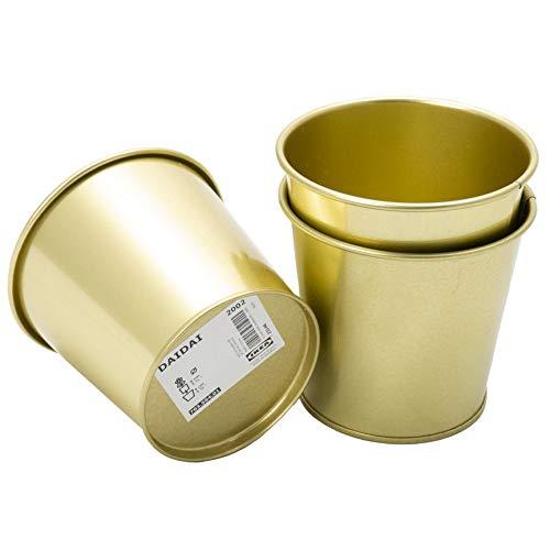 IKEA Daidai - Juego de 3 macetas de acero para plantas (9 cm), color dorado