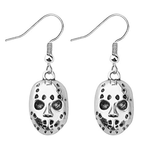 KEYCHIN Friday the 13th Inspired Jewellery Horror Movie Mask Earrings Voorhees Jason Valentine Jewelry Merchandise Gifts for Women (Jason mask earrings)