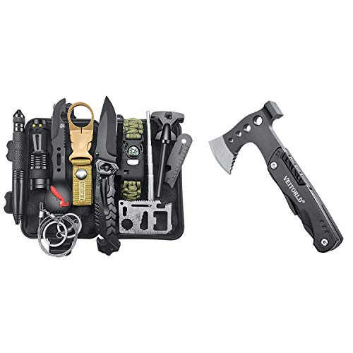 Gifts for Men Dad Husband, Survival Gear and Equipment, Multitool Axe, Camping Accessories