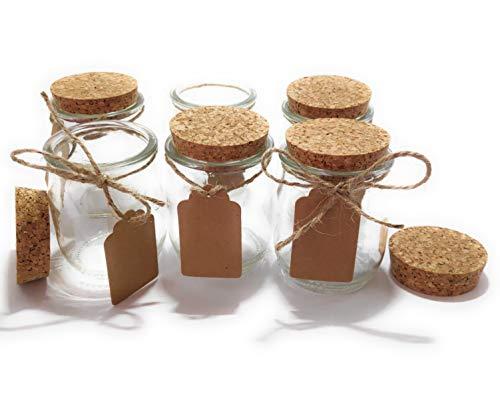 GET-GREEN Vasos de Yogur con Tapa de Corcho. 6 Unidades de tarros de Yogur de 140ml. Bonitos y Elegantes. Etiquetas de cartón y 2,5m de Cuerda.