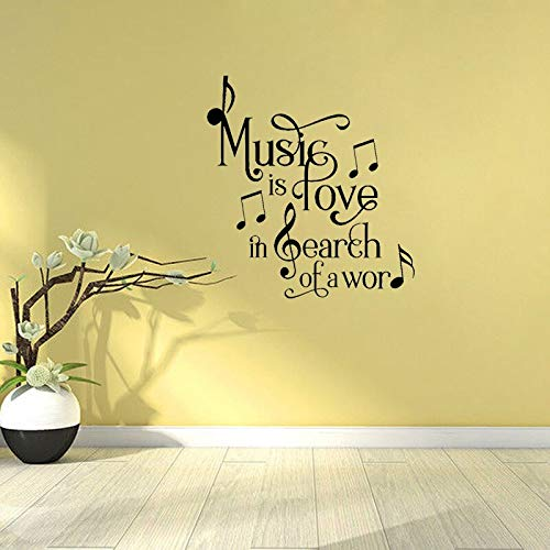 FPUYB 52CM*56.1CM Music is Love In Search of A Word Art Decor PVC Wall Sticker
