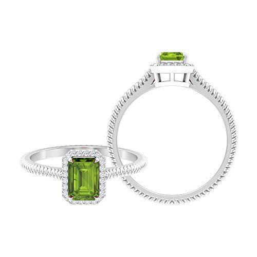 Rosec Jewels 14 quilates oro blanco redonda Octagone Green Peridoto/Olivino Diamond