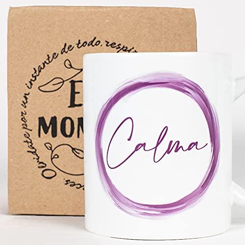 Taza Desayuno con Mensaje Calma_ Regalos Originales para Mujer_ Taza café Infusiones o Decoración Hogar en Cerámica de Calidad.