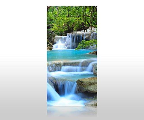wandmotiv24 Duschrückwand Wasserfall im Wald 100 x 200cm (B x H) - Aluminium 3mm Duschwand Design, Keine Fugen M0485