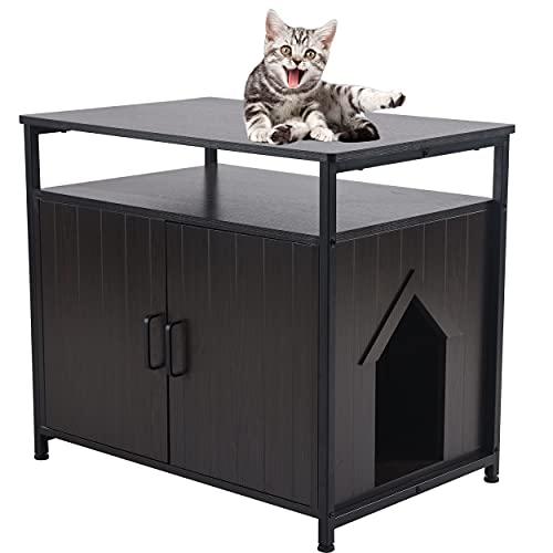 SUNGIFT Litter Box Enclosure, Cat Litter Box Furniture Hidden, Wooden Pet Crate Indoor Cat House,...
