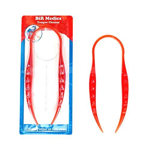 Bir Medics Zungenreiniger – Mundzahnpflege | hochwertiger Zungenreiniger aus Kunststoff in verschiedenen Farben (rot)