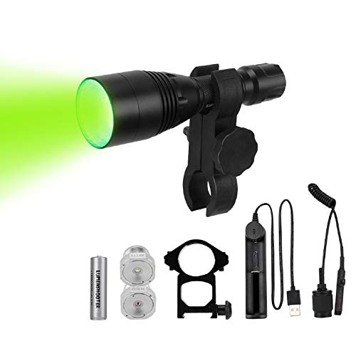 LUMENSHOOTER B8 Premium Bow Mounted Hunting Light Kit, Interchangeable Green Red White LED Modules, High Power Zoomable Flashlight Torch for Bow Fishing, Predator, Varmint, Coon& Hog