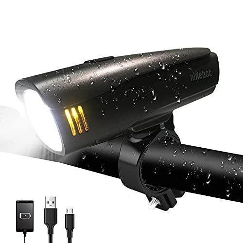 Segway Ninebot Fahrradlicht Set - Fahrradlicht USB Aufladbar, Fahrradlichter| StVZO Zulassung Fahrradlampe Aus Aluminium LED, Fahrradbeleuchtung Set Wasserdicht Fahrrad frontlicht -2 Licht-Modi