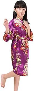 Jixin4you Floral Bride Bridesmaids Flower Girl Robe Satin Wedding Kimono Dressing Gown Sleepwear Nightgown