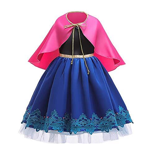 OBEEII Disfraz Anna Niña Princesa Reinas de Nieve 2 Cosplay Carnaval Vestido Disfraces de Fiesta Navidad Fancy Dress up Costume para Chicas Anna07 6-7 Años