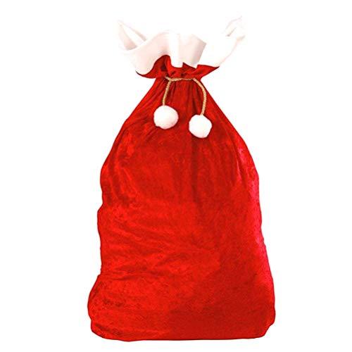 ABOOFAN Saco de Papá Noel con cordón grande para Navidad, bolsa de almacenamiento de juguetes, para Navidad, niños, decoración de Navidad, color rojo