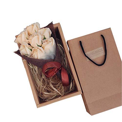 7 unids/Caja Rosas Flores Caja Simulación Artificial Flor de Eternidad Festival de Regalo Día de San Valentín Caja (Color : Beige)