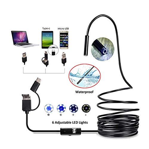 Verifique la cámara Pequeña impermeable cámara de 6 LED de Inspección endoscopio endoscopio IP67 Videocámaras Cámara 7MM 3 en 1 USB for Windows PC androide de Macbook Se utiliza para el mantenimiento
