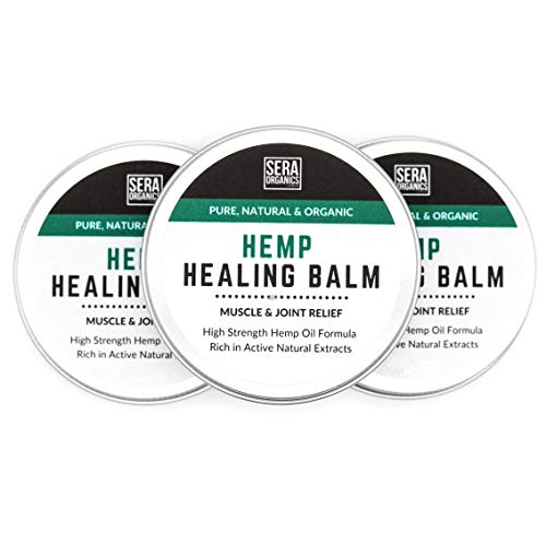 Hemp Joint & Muscle Active Relief Balm - High Strength Hemp Oil Formula Rich in Natural Extracts by Sera Organics - Soothe Feet, Knees, Back, Shoulders