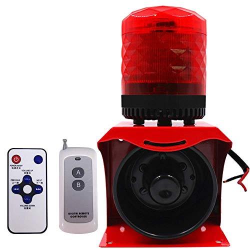 YJINGRUI 220V Sirena Alarma con Mando a Distancia Dual Alarma por Luz Estroboscópica y Sonido de 120dB 100M de Remoto Control 5m de Inducción Infrarojo lmpermeable(220V) (220V)