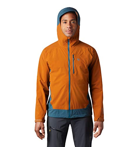 Mountain Hardwear Men's Stretch Ozonic Jacket Waterproof Breathable for Hiking, Backpacking, and Everyday - Rust Earth - Medium