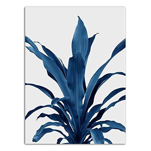 XWArtpic Personalidad Creativa Sofá Fondo Pintura de Pared Simple Planta Azul Impresiones en Lienzo Decoración nórdica Arte Carteles e Impresiones 30 * 40 cm